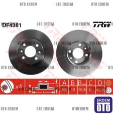 Dacia Logan Düz Fren Disk Takımı TRW 6001547683 6001547683