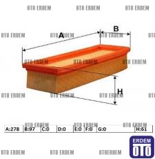 Fiat Doblo Hava Filtresi 1.4 8V 55192012E - 55192012 55192012E - 55192012
