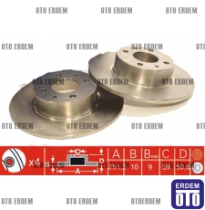 Fiat Stilo Arka Fren Disk Takımı Mga 46831042