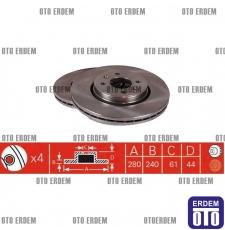 Laguna 1 Fren Diski Takım VALEO 7701207829