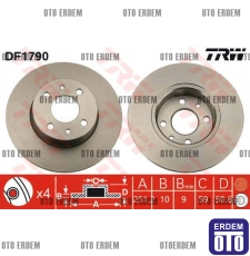 Fiat Bravo 2 Arka Fren Disk Takımı TRW 46831042