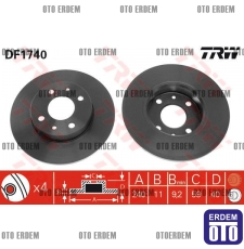 Fiat Bravo Ön Fren Disk Takımı TRW 46820655 - DF1747