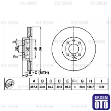 Fiat Palio Ön Fren Disk Takımı 51749124M