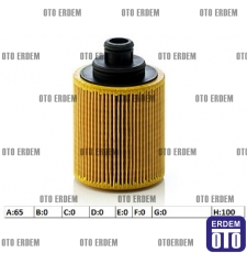Fiat Panda Yağ Filtresi 1.3Mjet 55197218