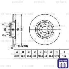 Fiat Punto Ön Fren Disk Takımı 55700923M
