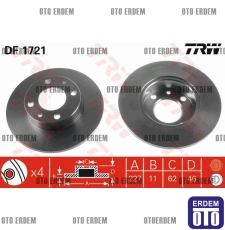 Fiat Uno 60 Ön Fren Diski Trw (Takım) 4208311 - 2
