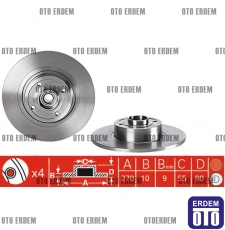Megane 2 Sw Arka Fren Disk Takımı Bilyalı 7701207898